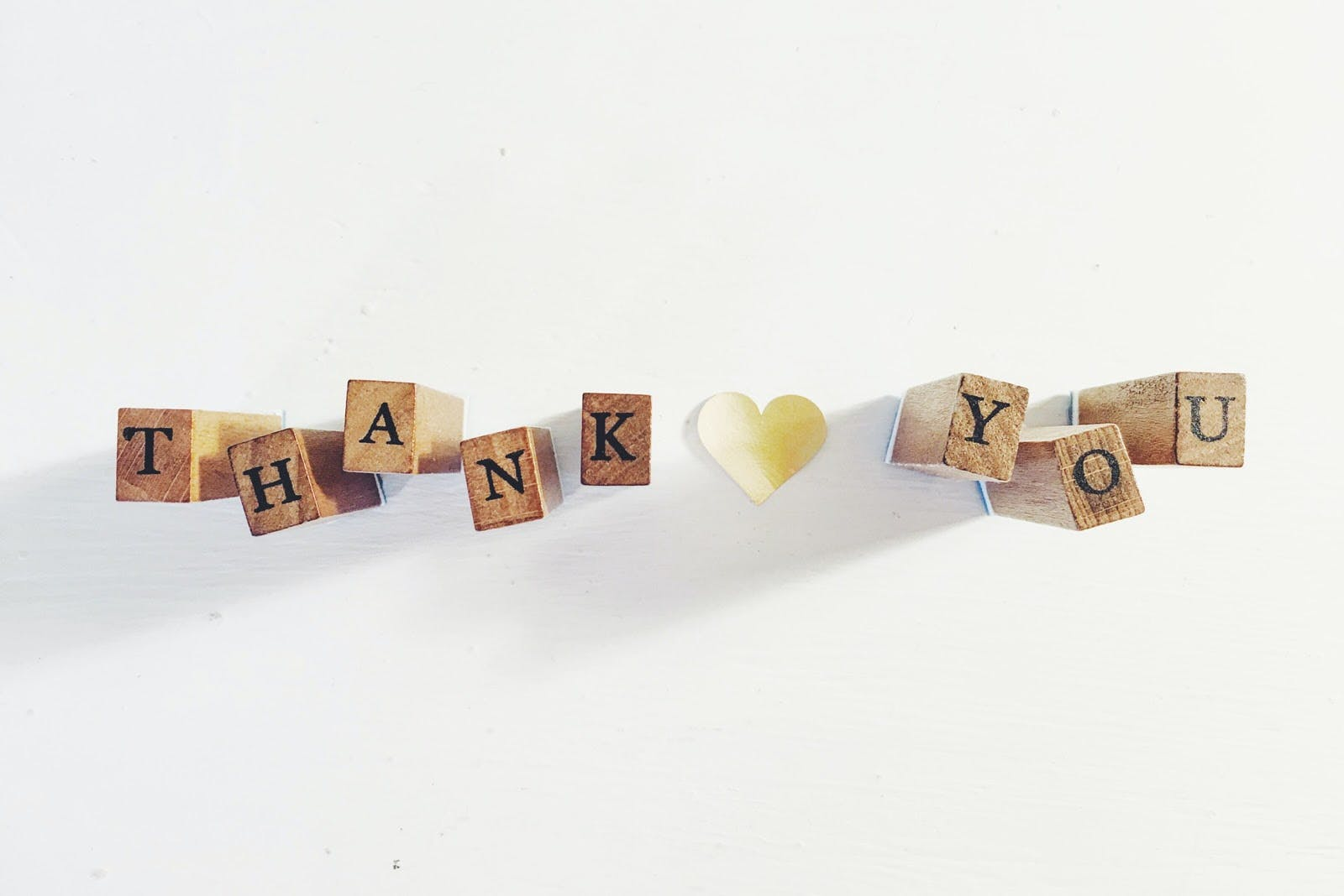 """Thank you"" spelled out in blocks"