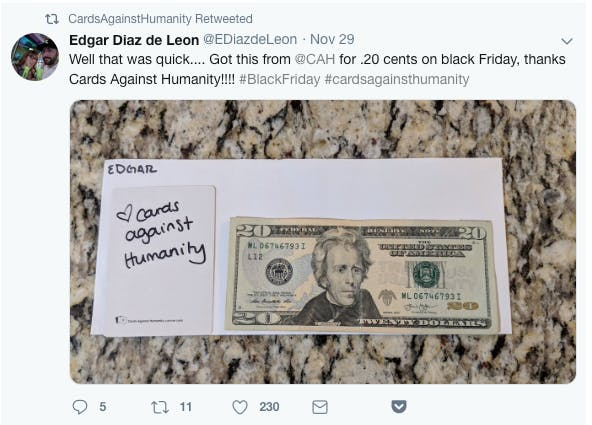 Fans interacting with Cards Against Humanity for their Black Friday promotions