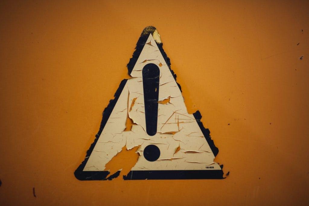 Orange warning sign