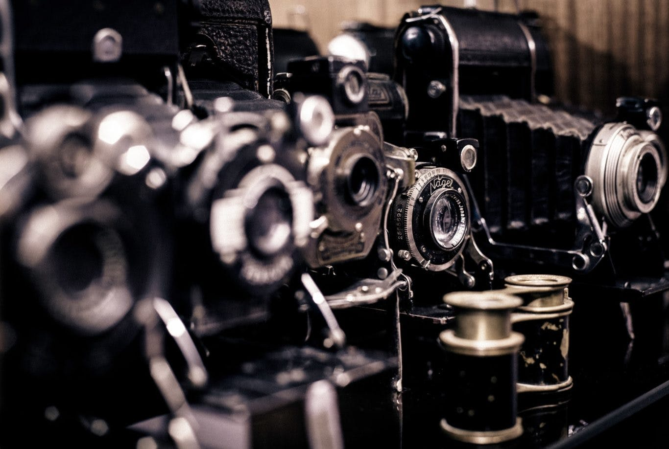 Close up shot of a vintage camera