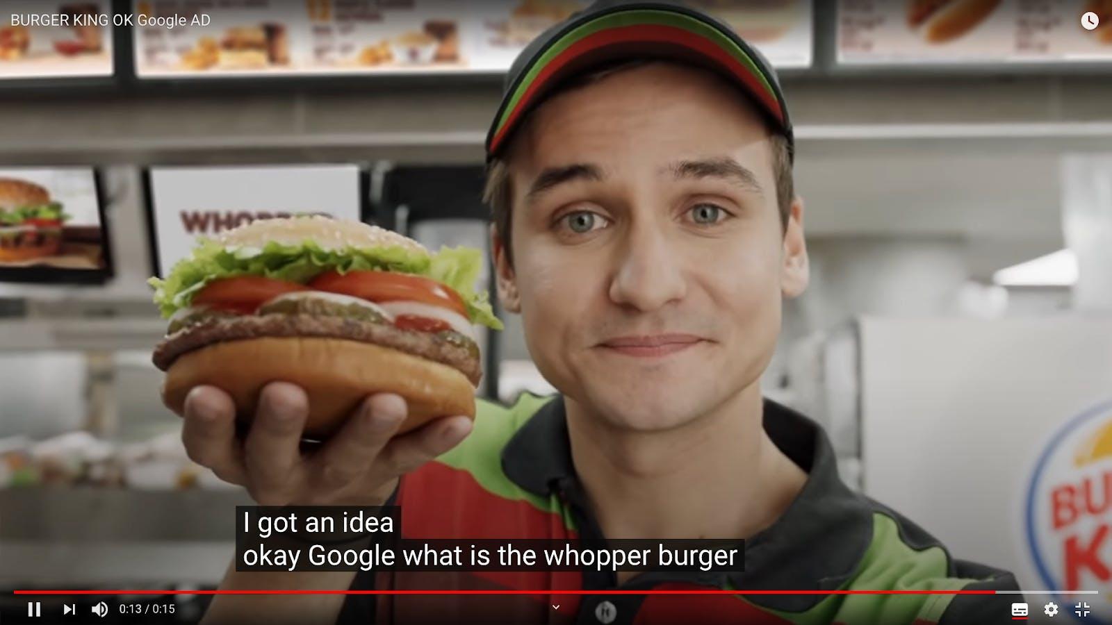 "Burger King commercial ""Ok google"""