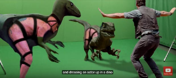 Behind the scenes of Jurassic Park, the room and actors were covered in green