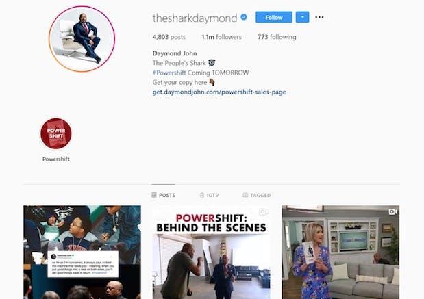 Daymond John's instagram page