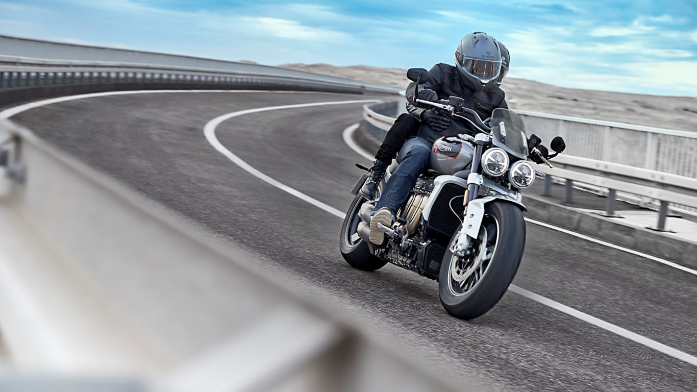 Triumph Rocket 3 GT being driven on a highway road