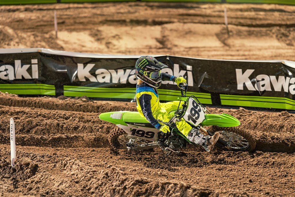 KAWASAKI KX85 in action on off-road track