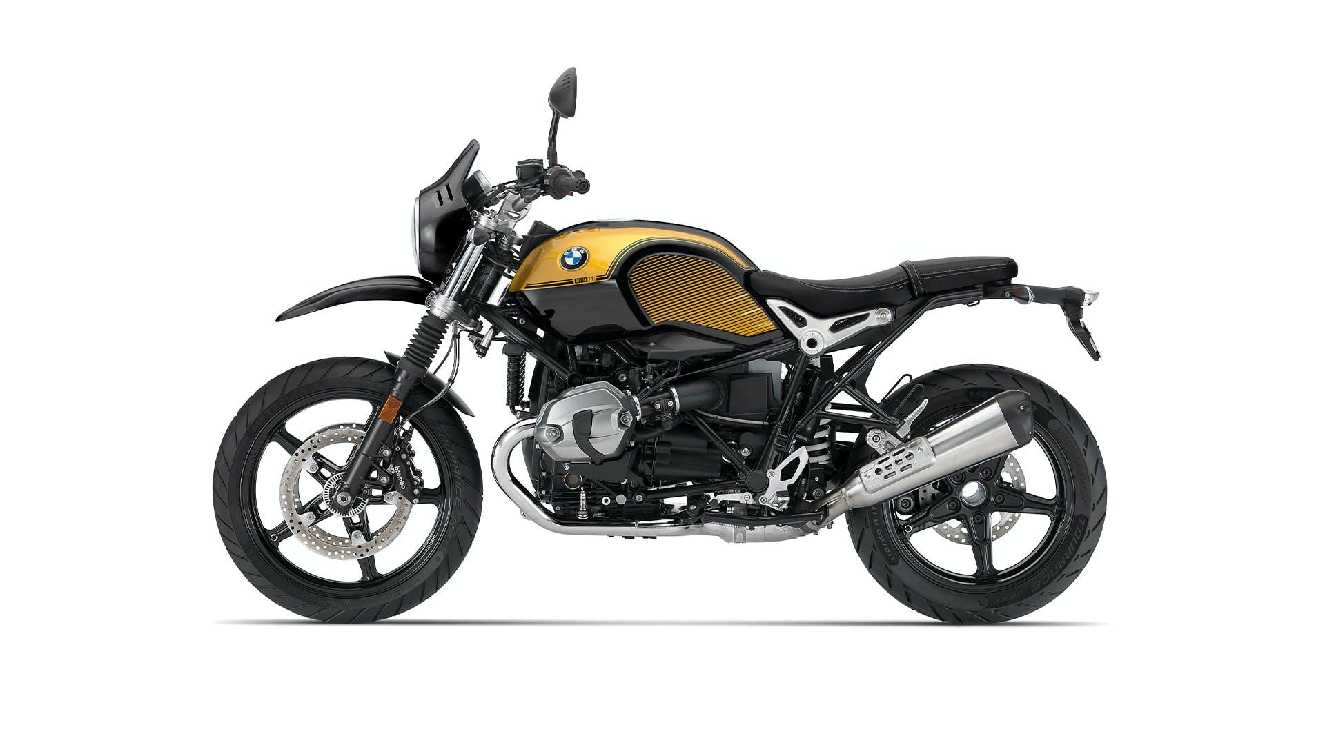 BMW R nineT Urban G/S Spezial in option 719 black storm metallic / aurum colour