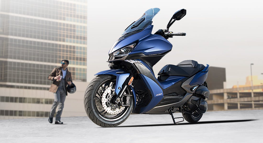 Kymco Xciting S 400i in blue colour parked