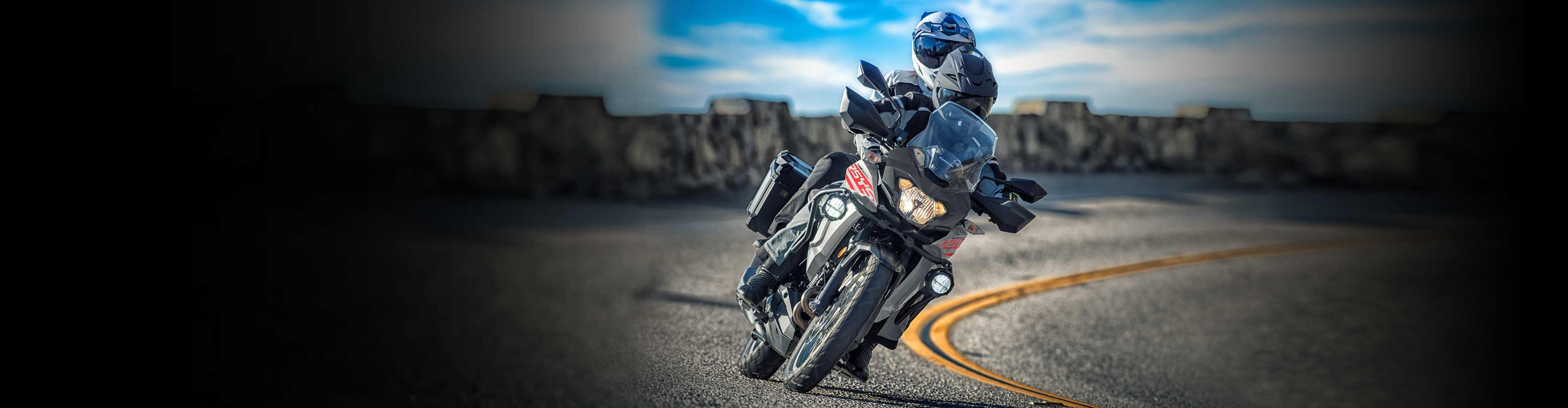 2021 Kawasaki VERSYS-X 300 in action on the road.