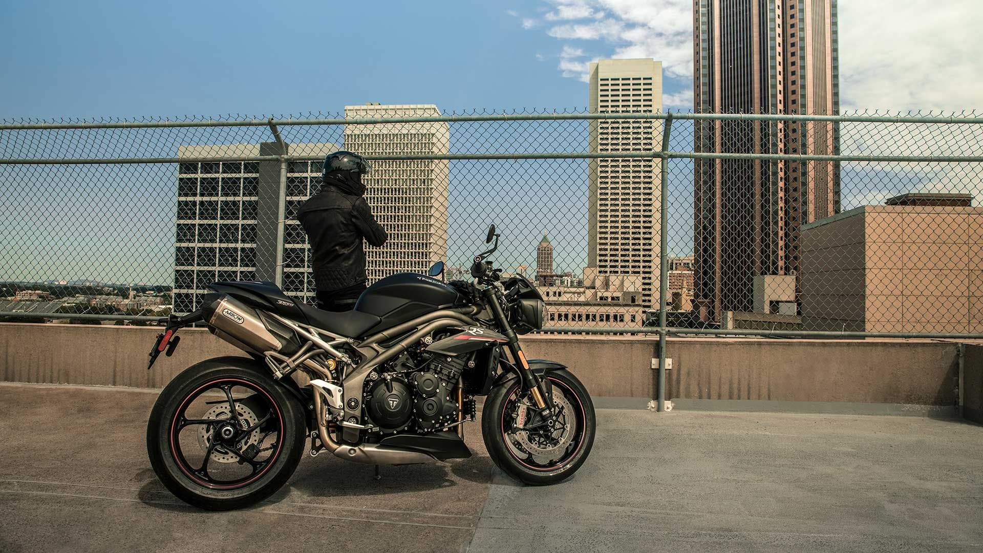 Triumph Speed Triple RS parked.