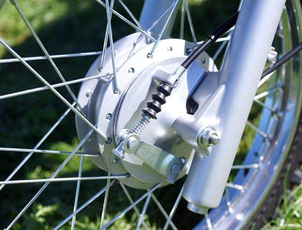 Yamaha AG125 close up image of sealed drum brakes