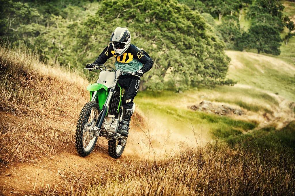 Kawasaki KLX300R going up in a hill road