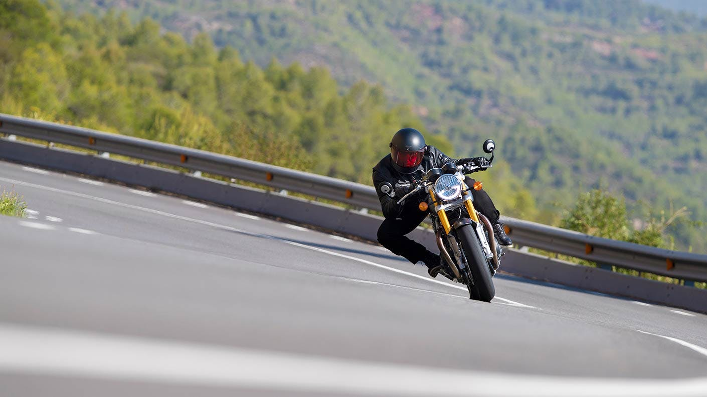 Triumph Thruxton RS in action on the road.