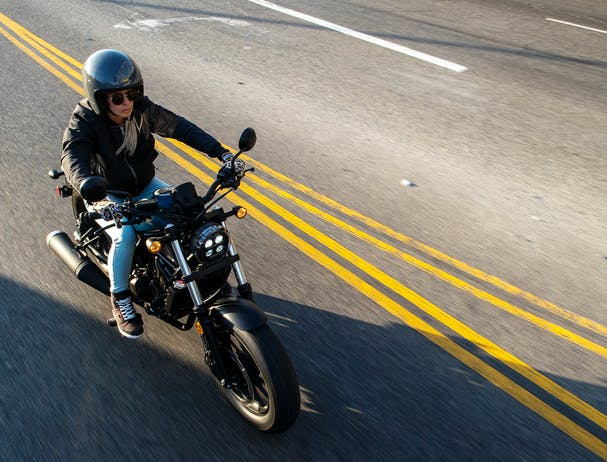 Honda CMX500 being ridden on the road