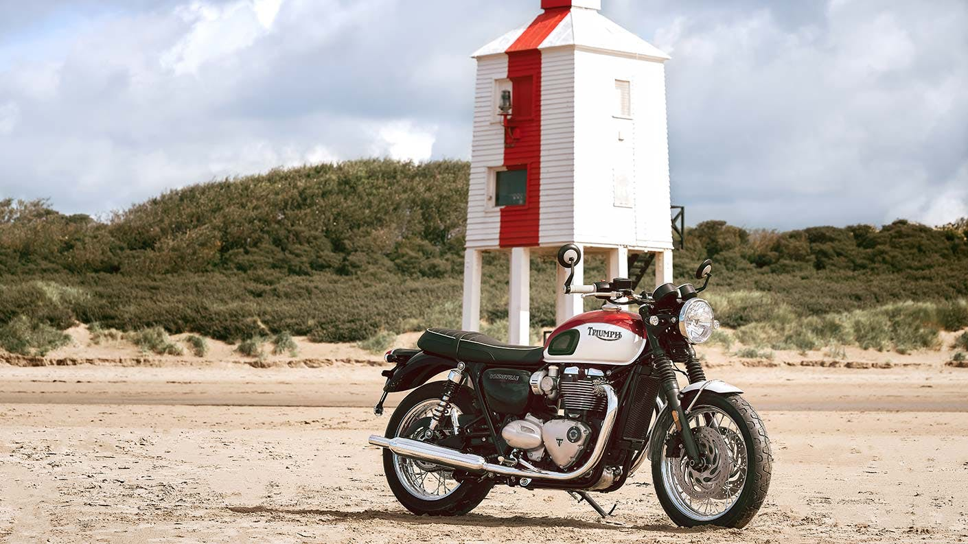 Triumph Bud Ekins T120 in White/Red colour, parked