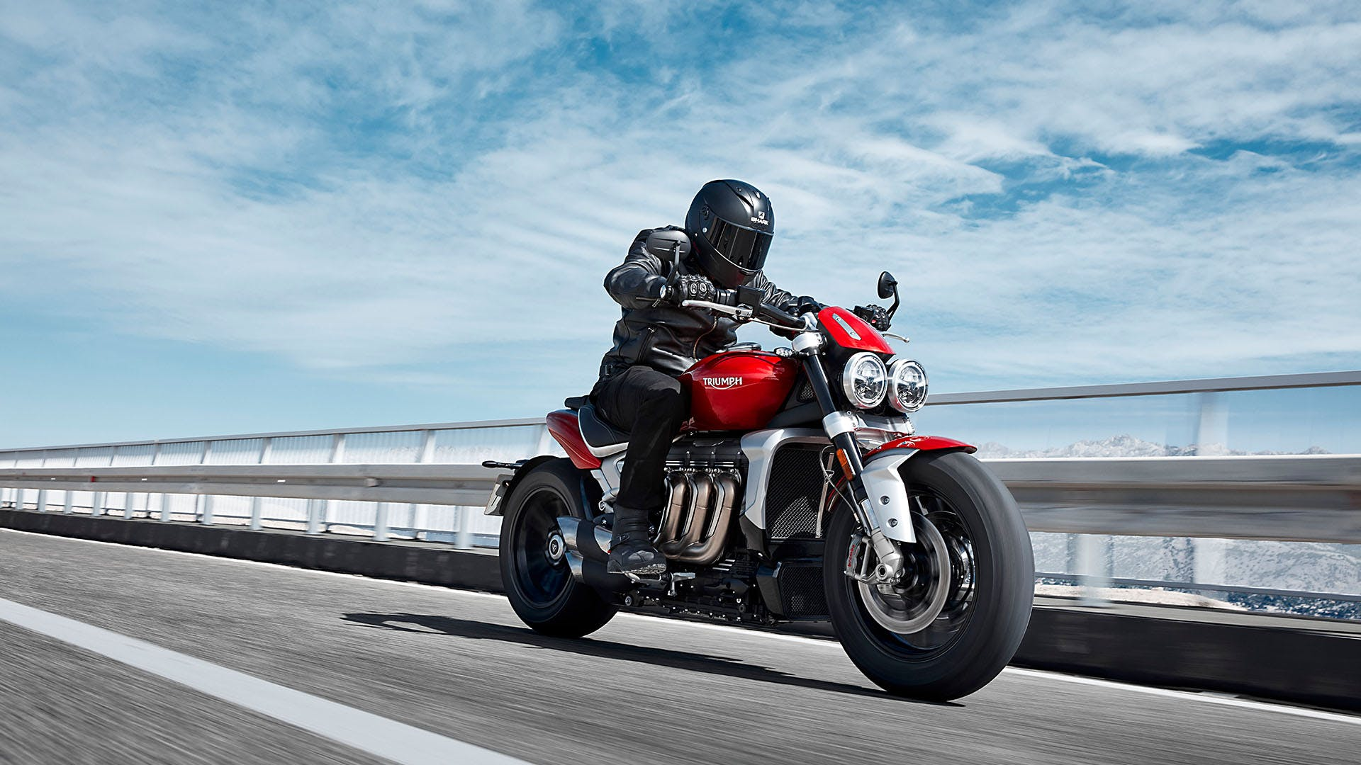 Triumph Rocket 3 R being driven on a highway road