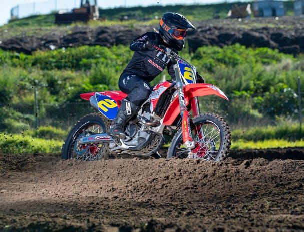 Honda CRF250R in extreme red colour on off road track