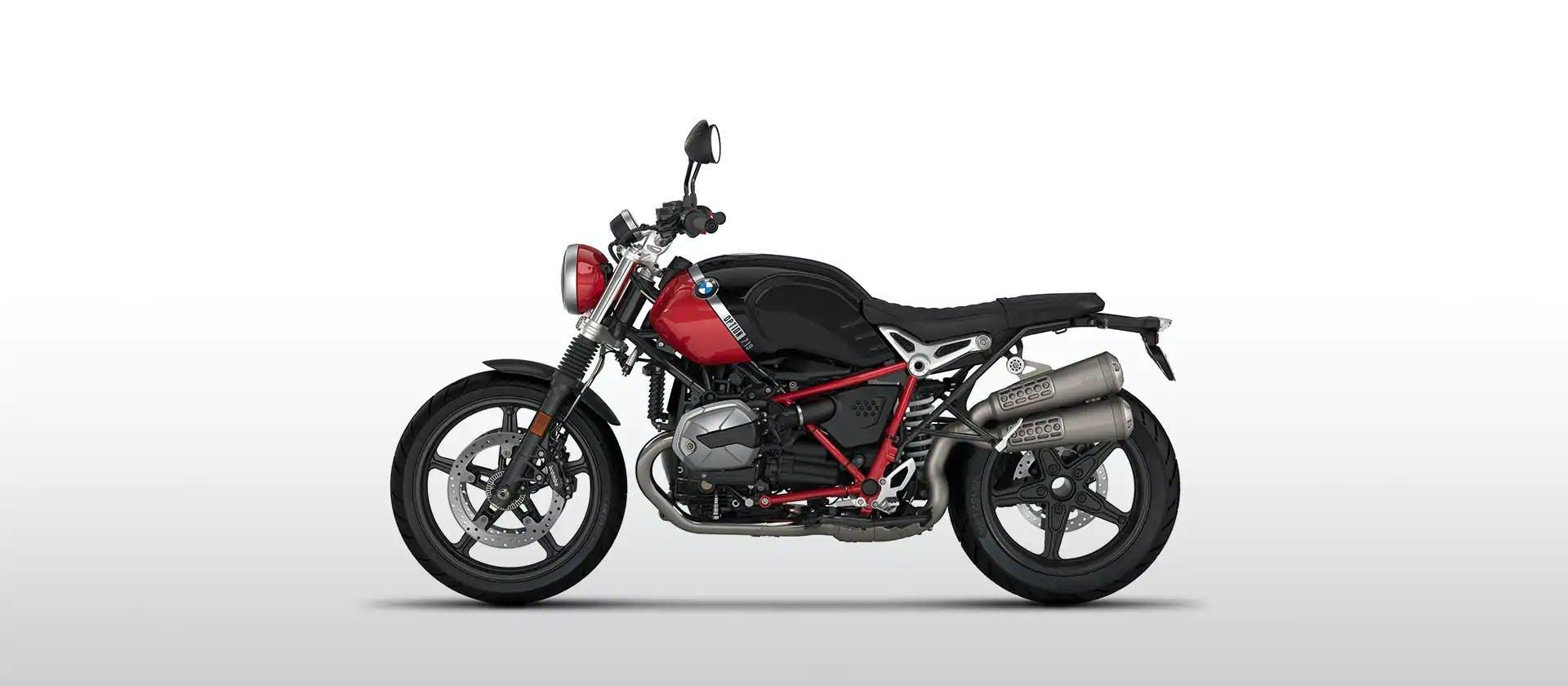 BWM R nineT Scrambler in Option 719 Black Storm Metallic / Racing Red colour