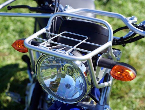 Yamaha AG125 close up image of front rack