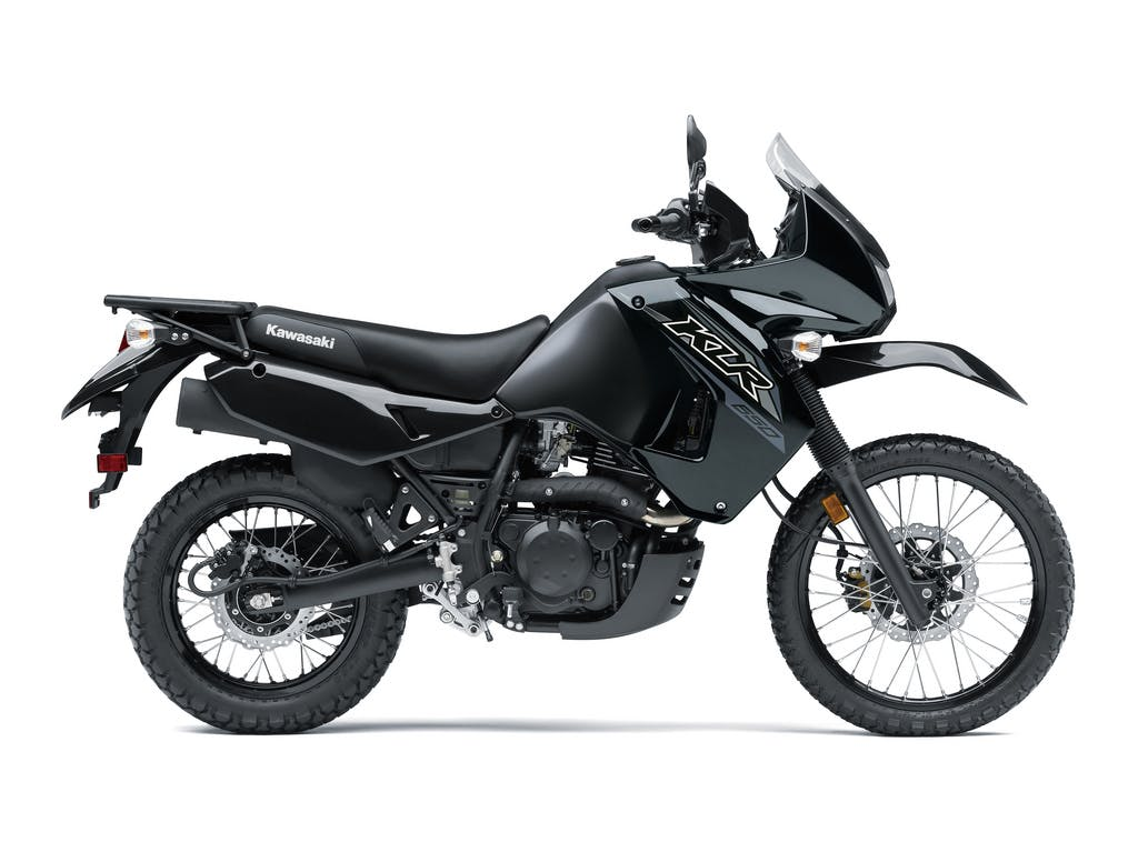 KAWASAKI KLR650 in metallic spark black and metallic matte carbon grey colour