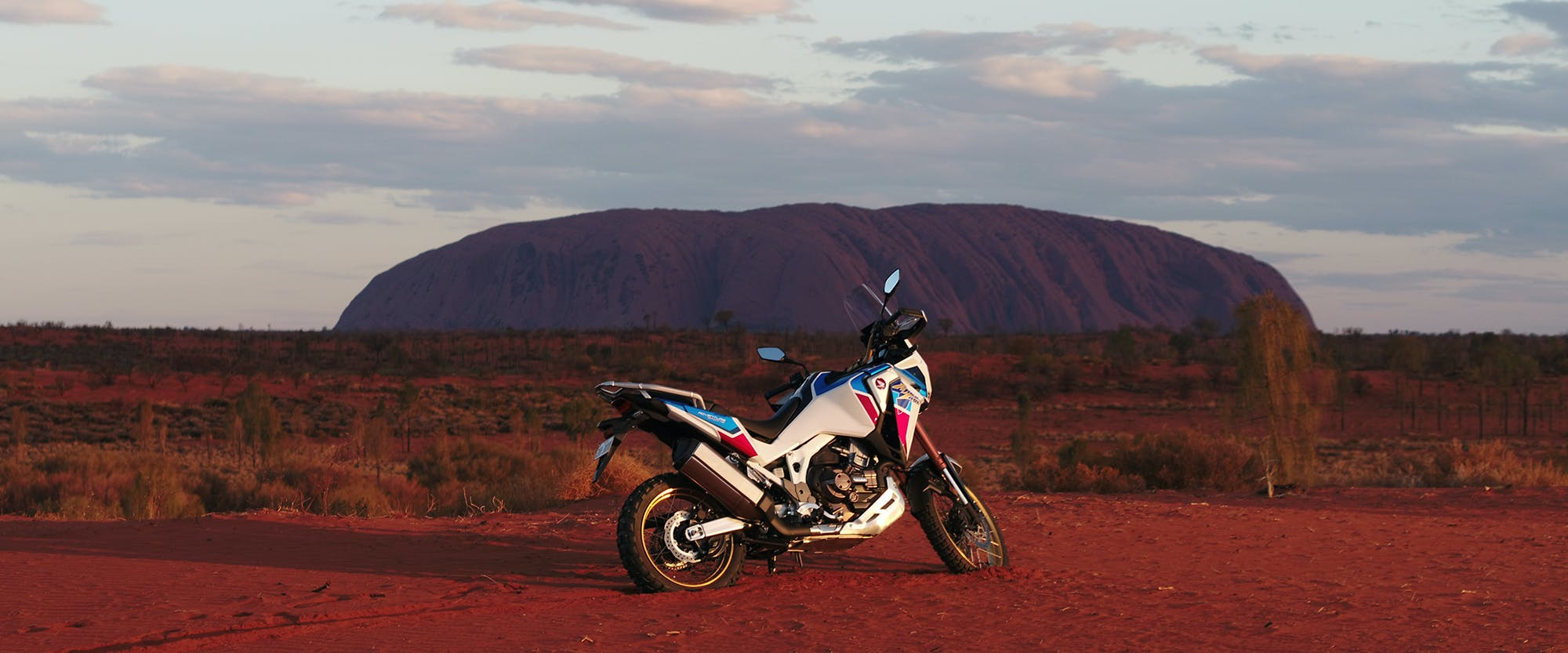 Honda Africa Twin Adventure Sports in Pearl Glare White colour, parked