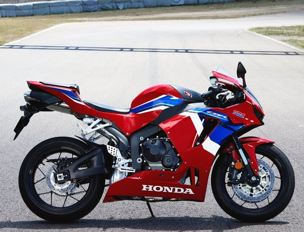 Honda CBR600RR in Grand Prix Red colour, parked