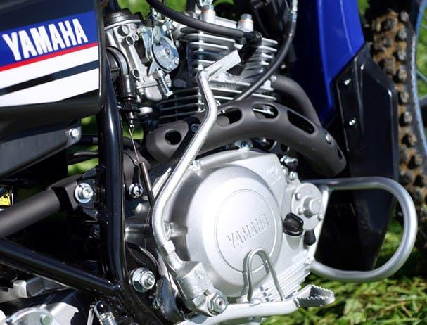 Yamaha AG125 close up image of engine