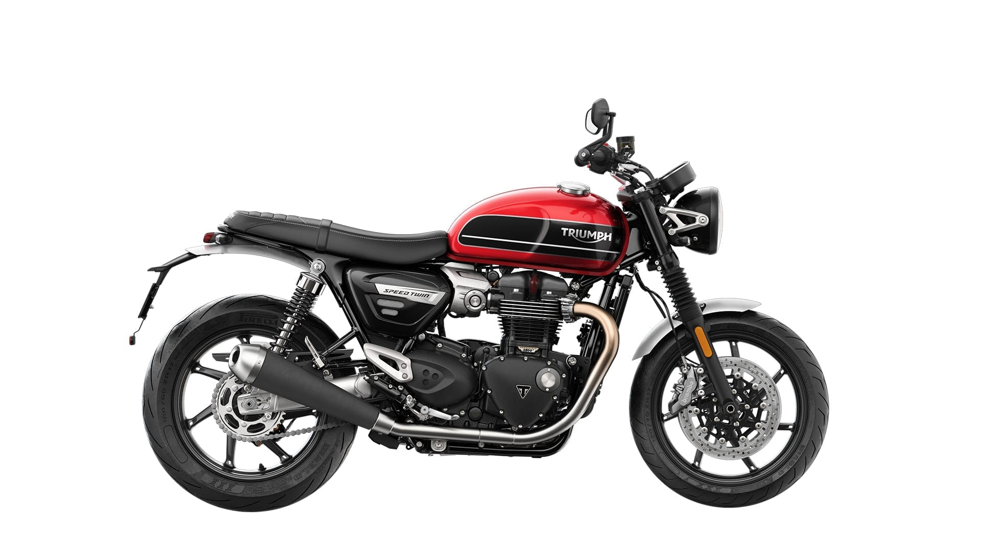 TRIUMPH BONNEVILLE SPEED TWIN in korosi red and storm grey colour