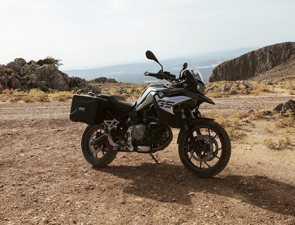 BMW F 750 GS TOUR in stereo metallic matte colour, parked