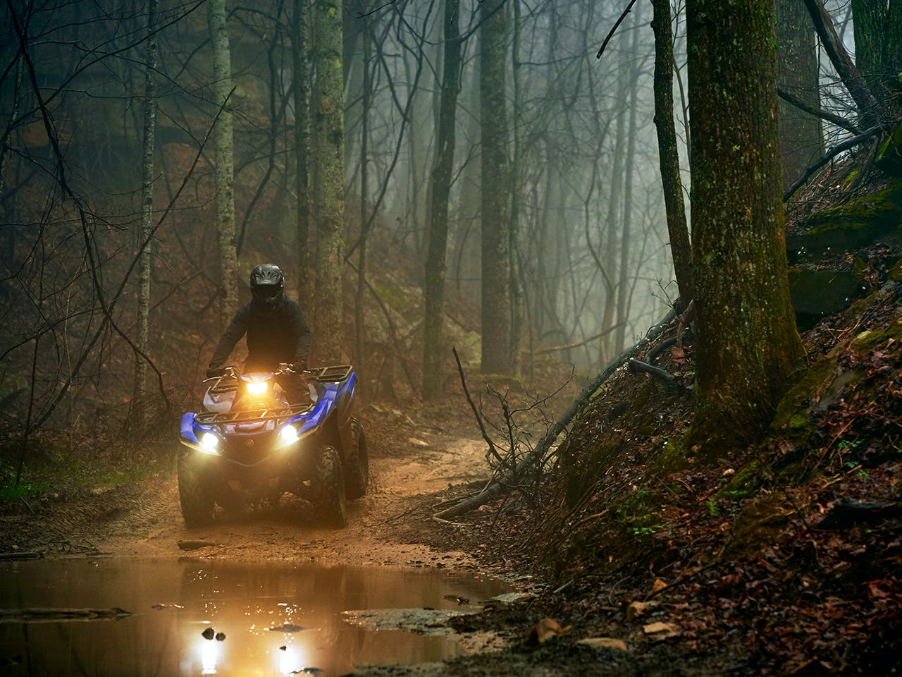 Yamaha Grizzly 700 in Steel Blue colour riding through the forest