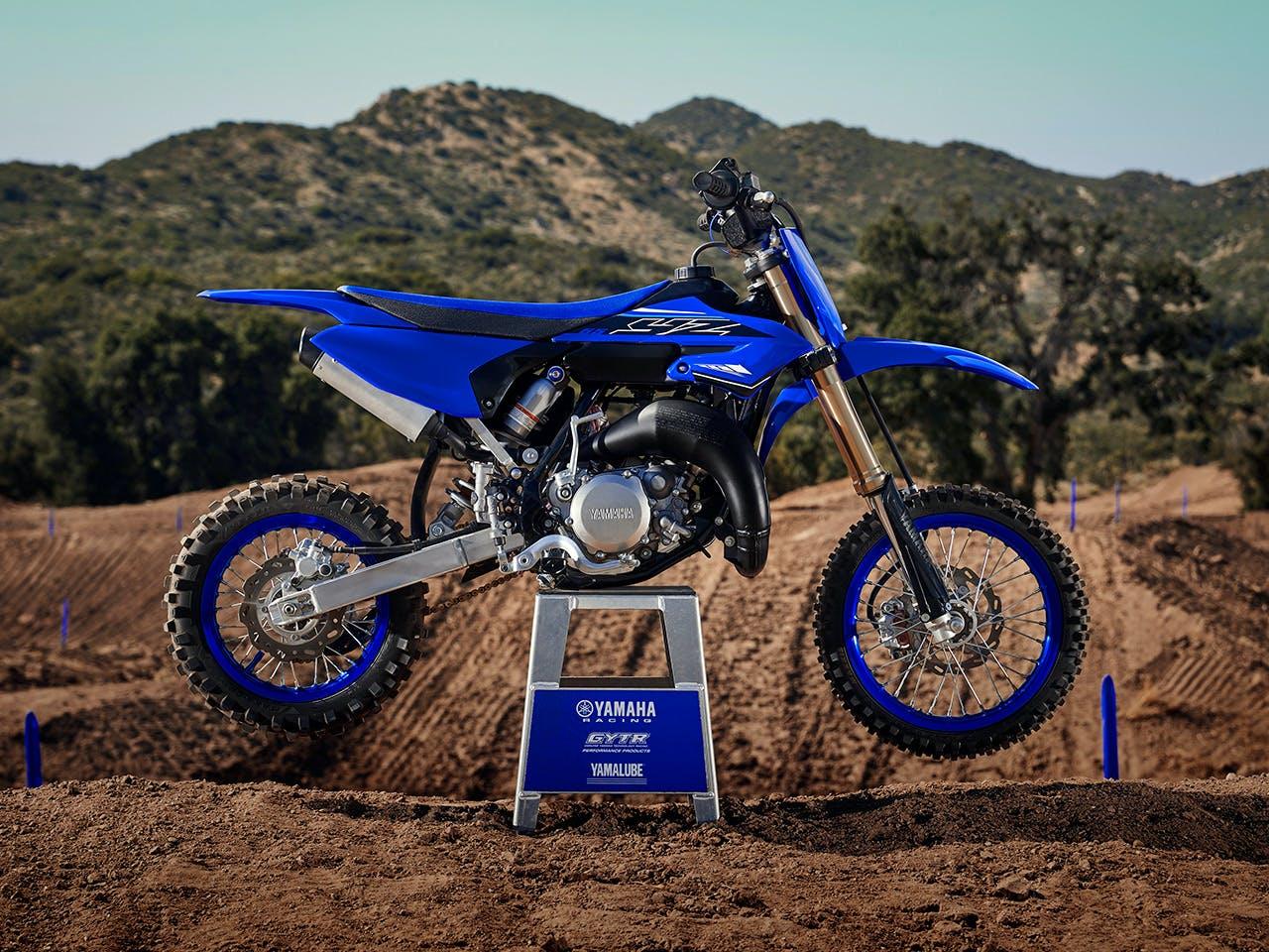 Yamaha YZ65 in team yamaha blue colour , parked