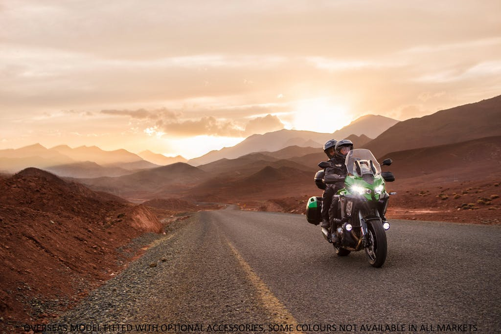 KAWASAKI VERSYS 1000 SE being ridden on a road