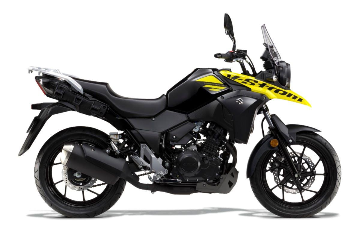 SUZUKI V-STROM 250 in pearl black and champion yellow colour