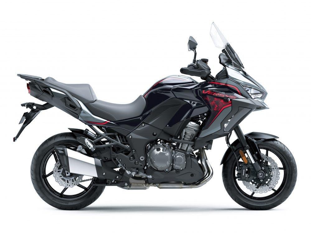 Kawasaki Versys 1000 S in HD Pearl Storm Gray with HD Metellic Diablo Black and Metallic Flat Spark Black colour
