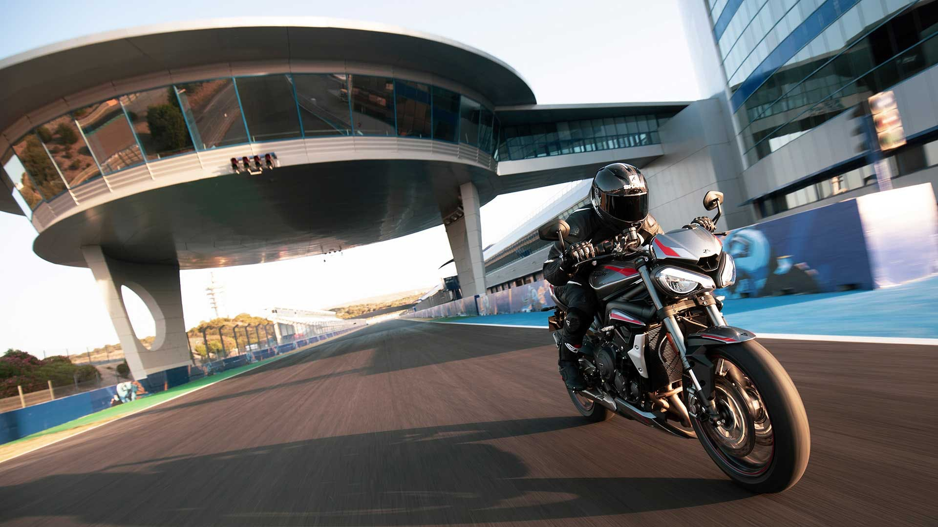 Triumph Street Triple RS on the road.