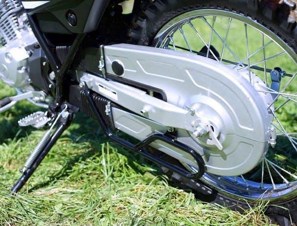 Yamaha AG125 close up image of chain protector