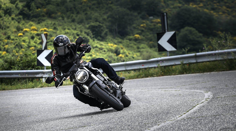 Honda CB300R in black colour on the street road