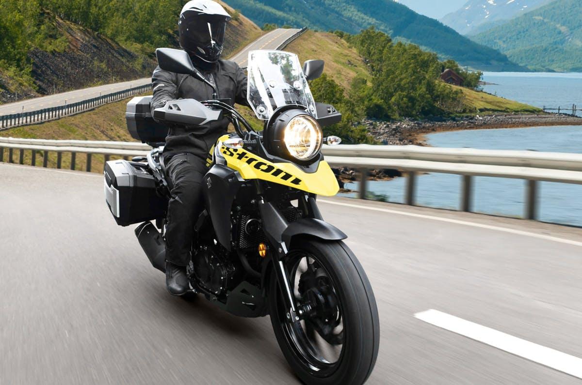 SUZUKI V-STROM 250 being ridden on a road