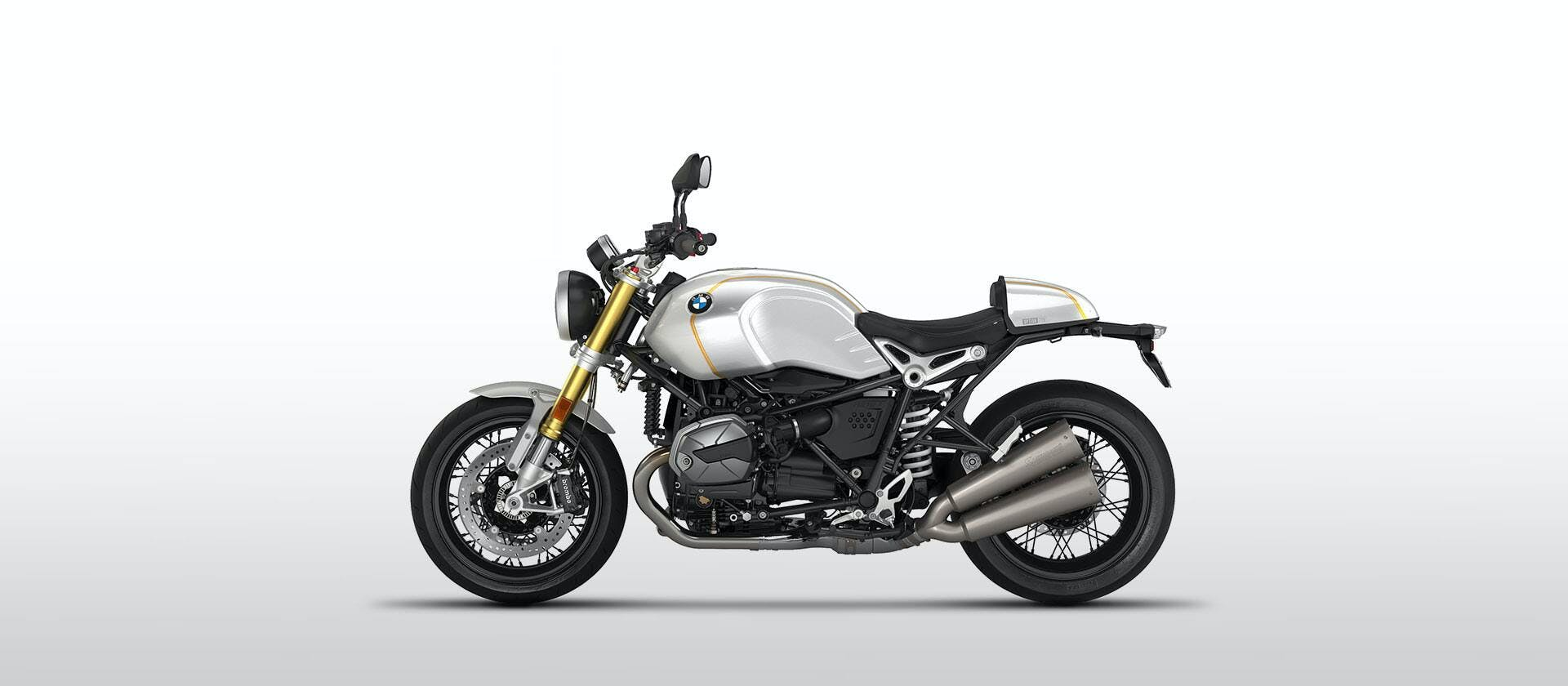 BMW R NINET in Option 719 Mineral White Metallic/Sunset Yellow colour