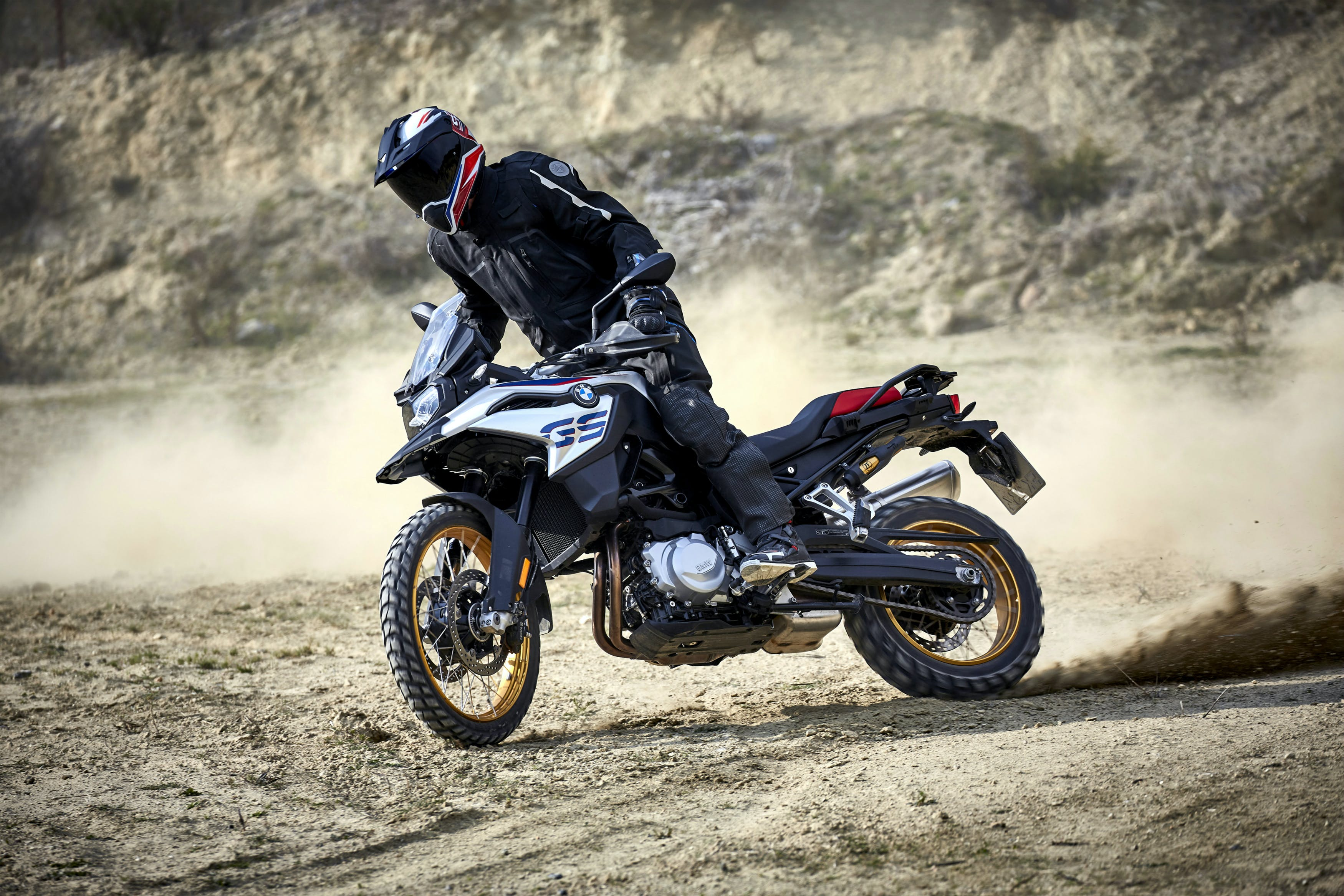 BMW F 850 GS Rallye motorcycle being ridden off-track