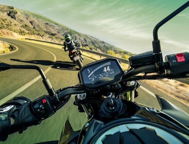 Kawasaki Z650L in Metallic Spark Black with Metallic Flat Spark Black colour on the road