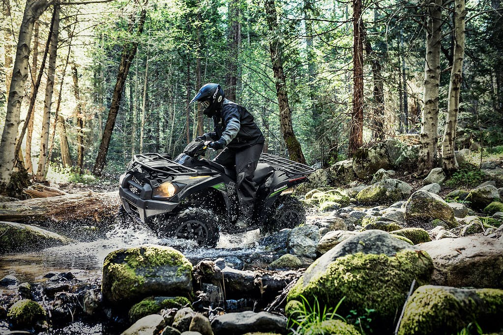 KAWASAKI BRUTE FORCE 750 in Super Black colour on forest road