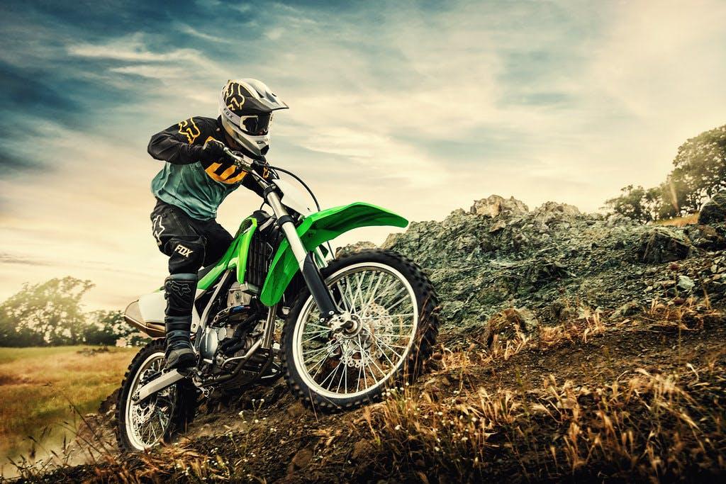 Kawasaki KLX300R going up on a hill