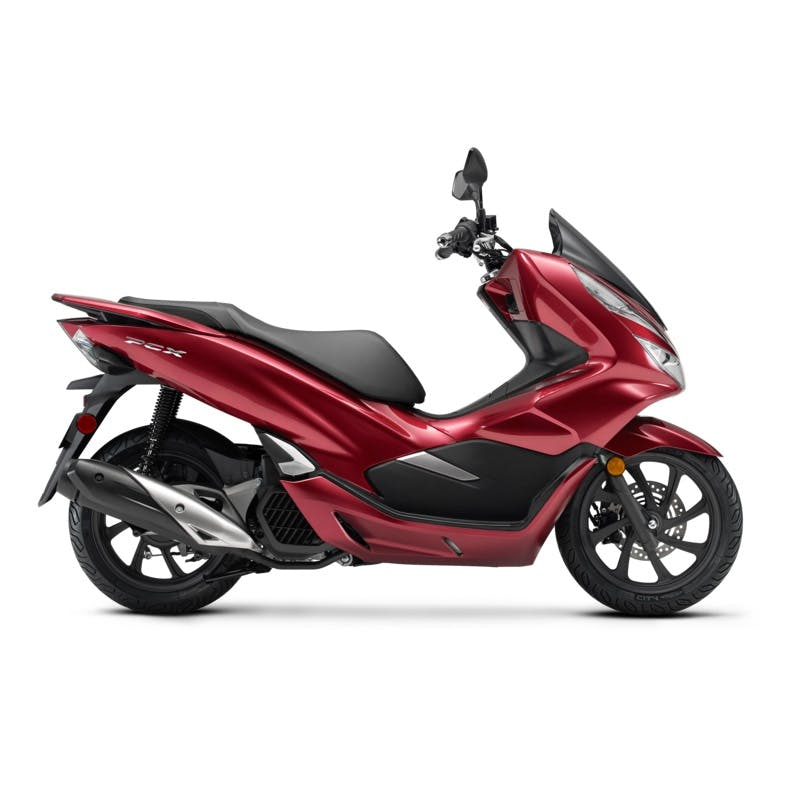 Honda PCX150 in candy lustre red colour