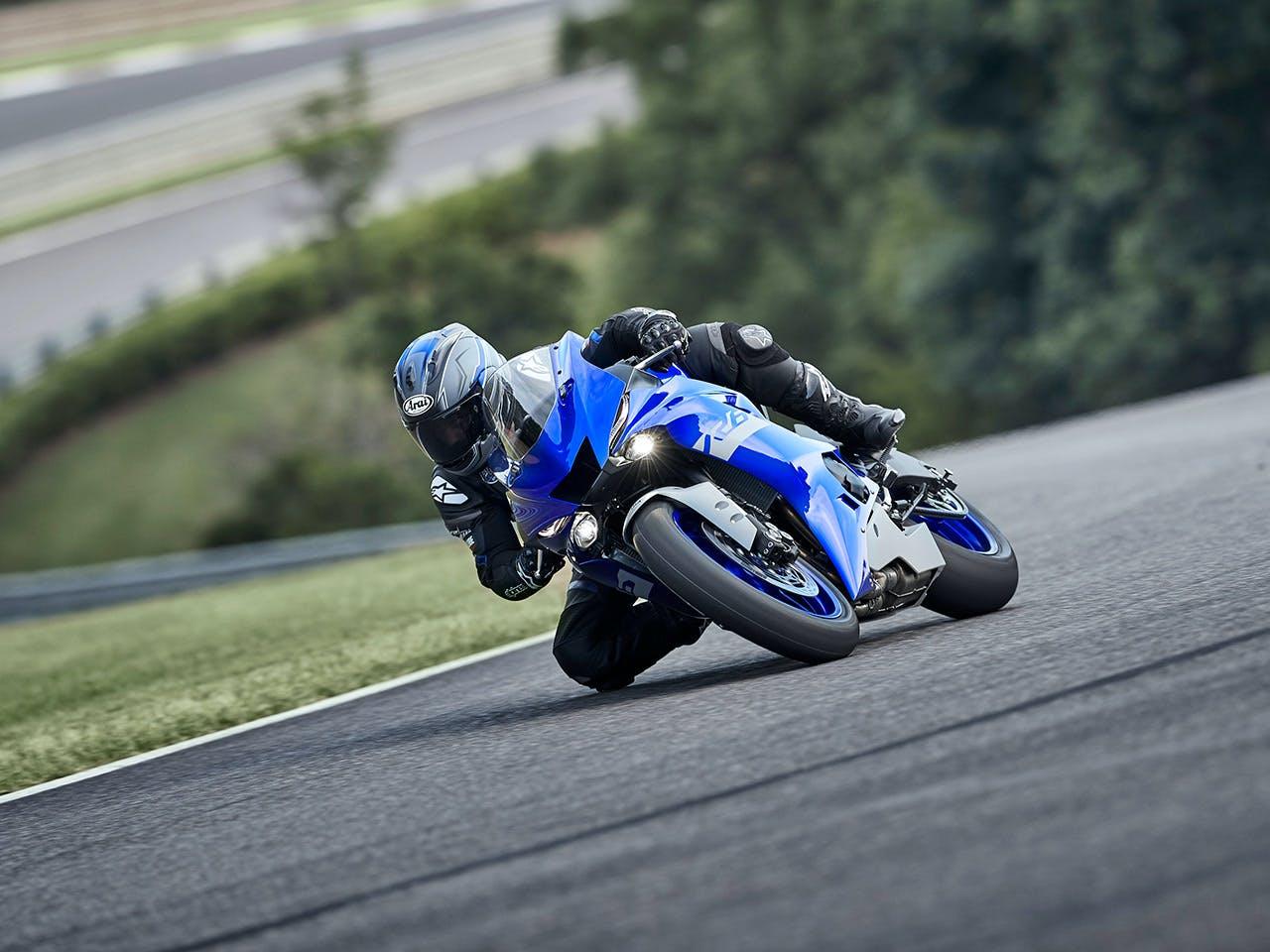 YAMAHA YZF-R6 in Yamaha Blue colour on the road