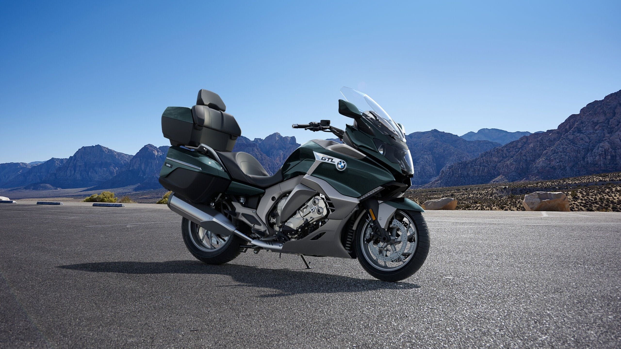 BMW K 1600 GTL ELEGANCE in pollux metallic colour parked on a road