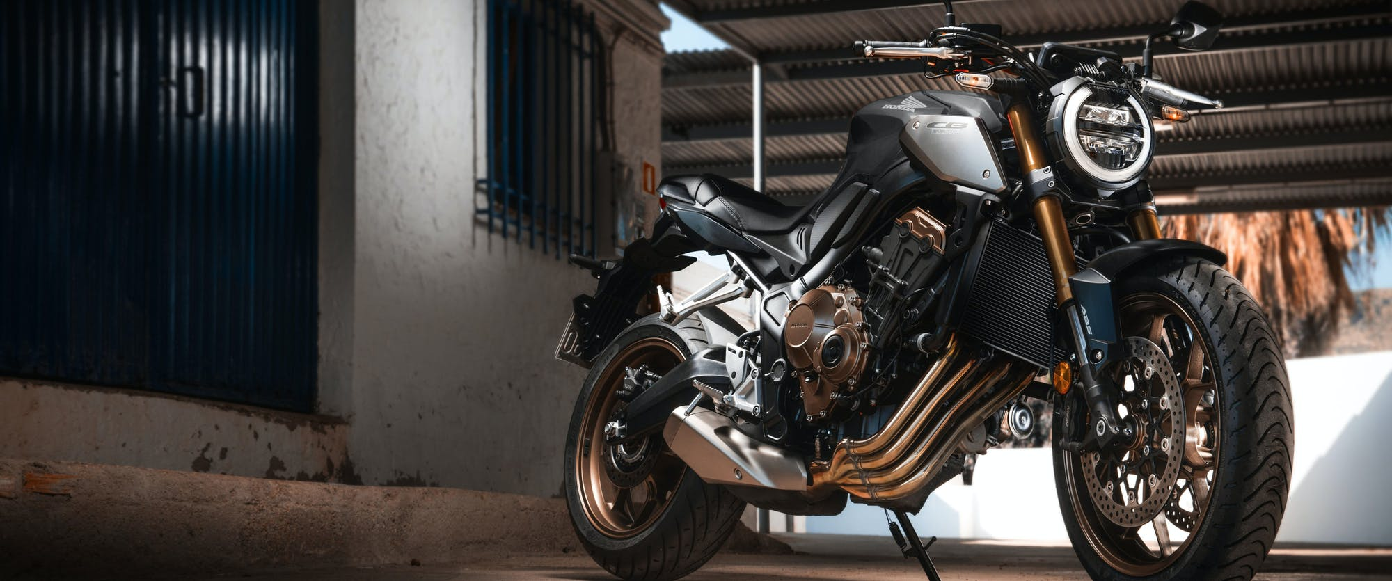 Honda CB650R in pearl smoke grey colour, parked