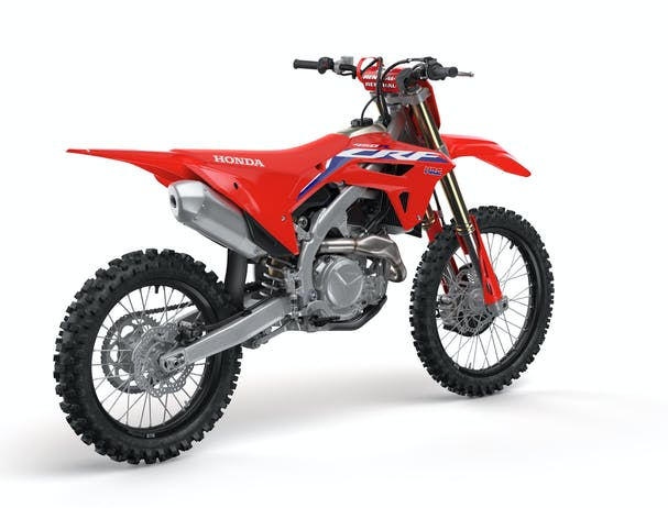 Honda CRF450R in extreme red colour, parked