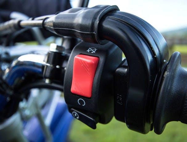 Yamaha AG125 close up image of electric start button