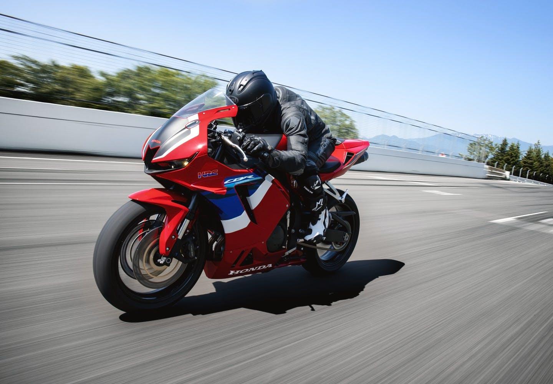 Honda CBR600RR in Grand Prix Red colour on the road