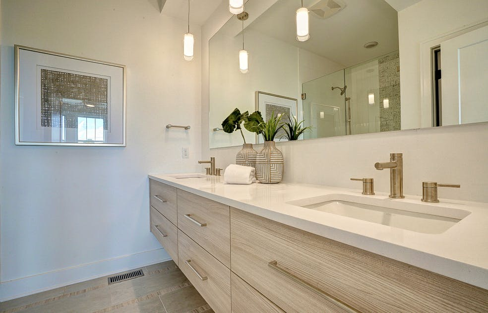 Luxury vanity with two sinks